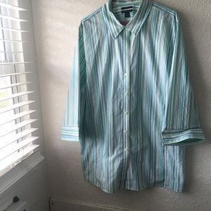 Westbound Wrinkle Free Top Striped 3/4 Sleeve